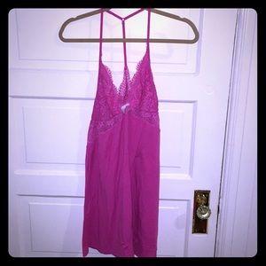Victoria's Secret pink lace detailed knit slip L